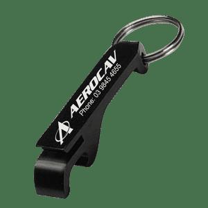 Engraved Aluminium Bottle Opener Custom Branded Keyring Logo