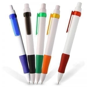 Generic Decoration Comfort Grip White Promotional Plastic Pen biro