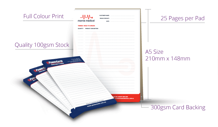 A5 Notepad 25 Pages per pad specs