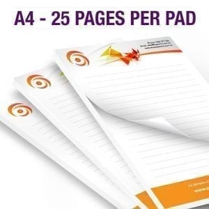 A4 NotePad – 25 Pages Per pad- 100gsm – Full Colour 100gsm