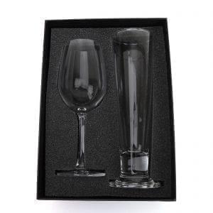 Drinkware Laser Engraved Wine Glass & Pilsner Set champ