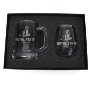 Drinkware Laser Engraved Beer Mug & Stemless Wine Set beer
