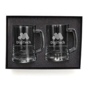 Drinkware Custom Engraved Double Beer Mug Corporate Glass Set beer