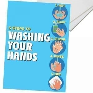 Hospitality A3 Corflute 5 Steps to Washing awareness