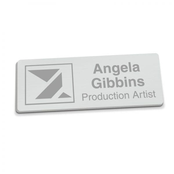 Badges Personalised Engraved Name Badge – Silver badge