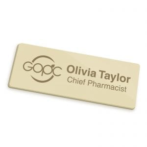 Badges Personalised Engraved Name Badge – Gold badg