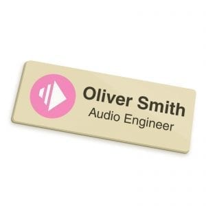 Badges Personalised Full Colour Name Badge – Gold badge