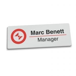 Badges Personalised Full Colour Name Badge – Silver badge