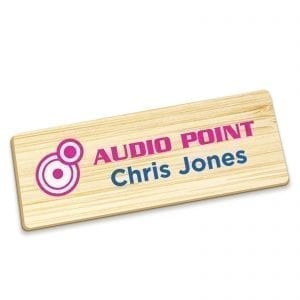 Badges Personalised Full Colour Name Badge – Bamboo badge