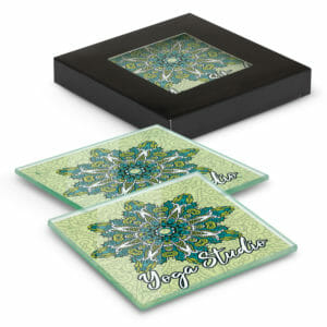 Coasters Venice Glass Coaster Set of 2 Square – Full Colour -